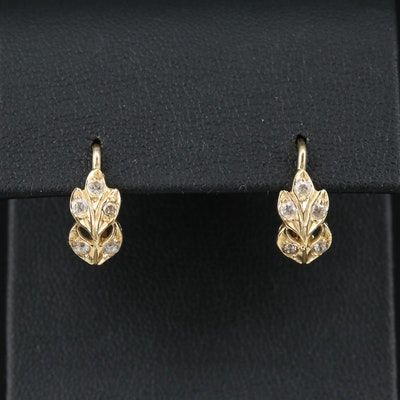 14K Cubic Zirconia Floral Dangle Earrings