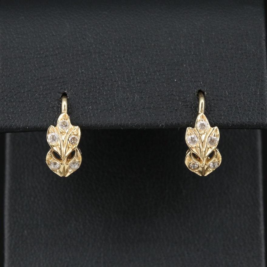 14K Cubic Zirconia Floral Dangle Earrings