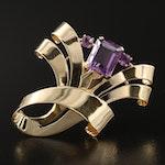 Retro Tiffany & Co. 14K Amethyst Fur Pin