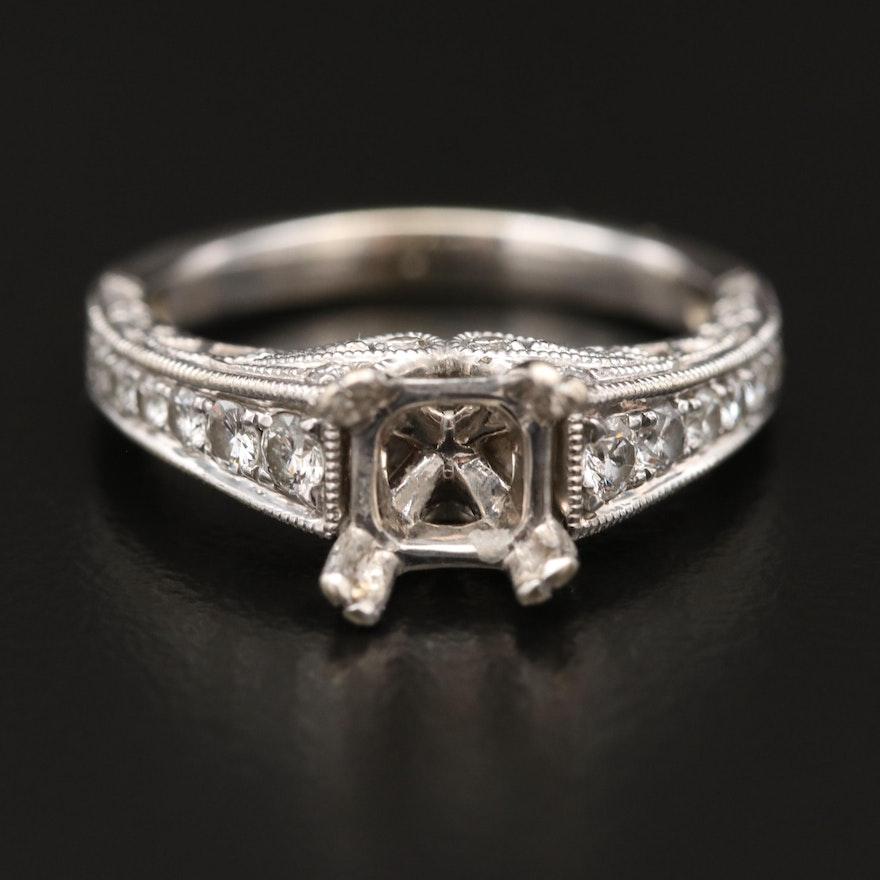 14K Diamond Semi-Mount Ring with Diamond Shoulders