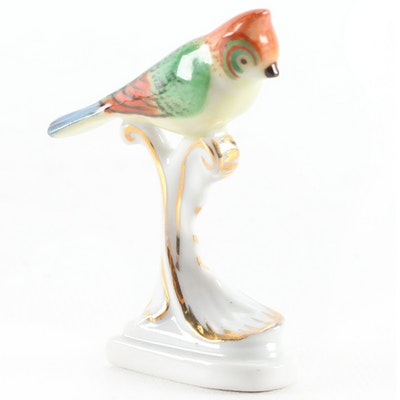 Herend Natural Miniature Bird Porcelain Figurine