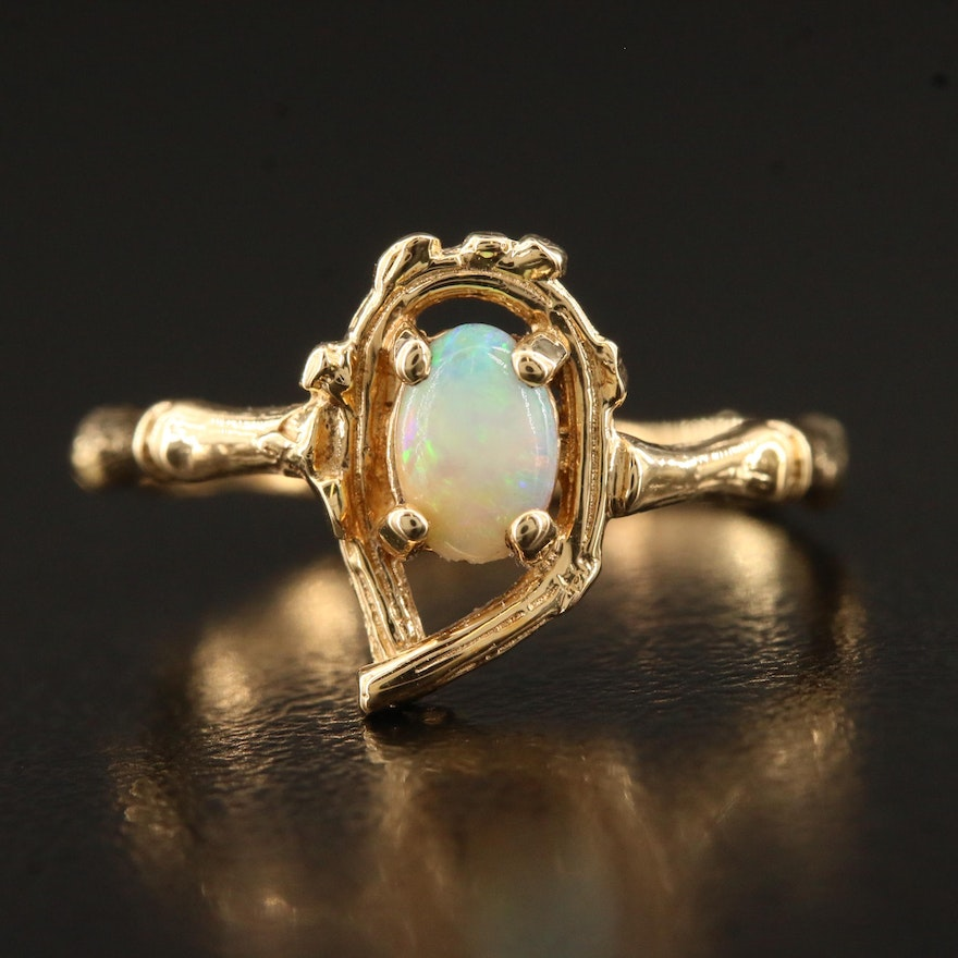10K Opal Ring with Bamboo Motif