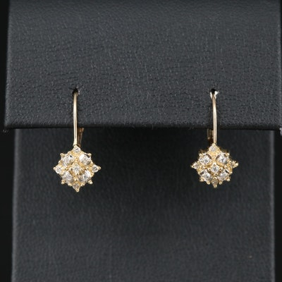14K Diamond Cluster Dangle Earrings