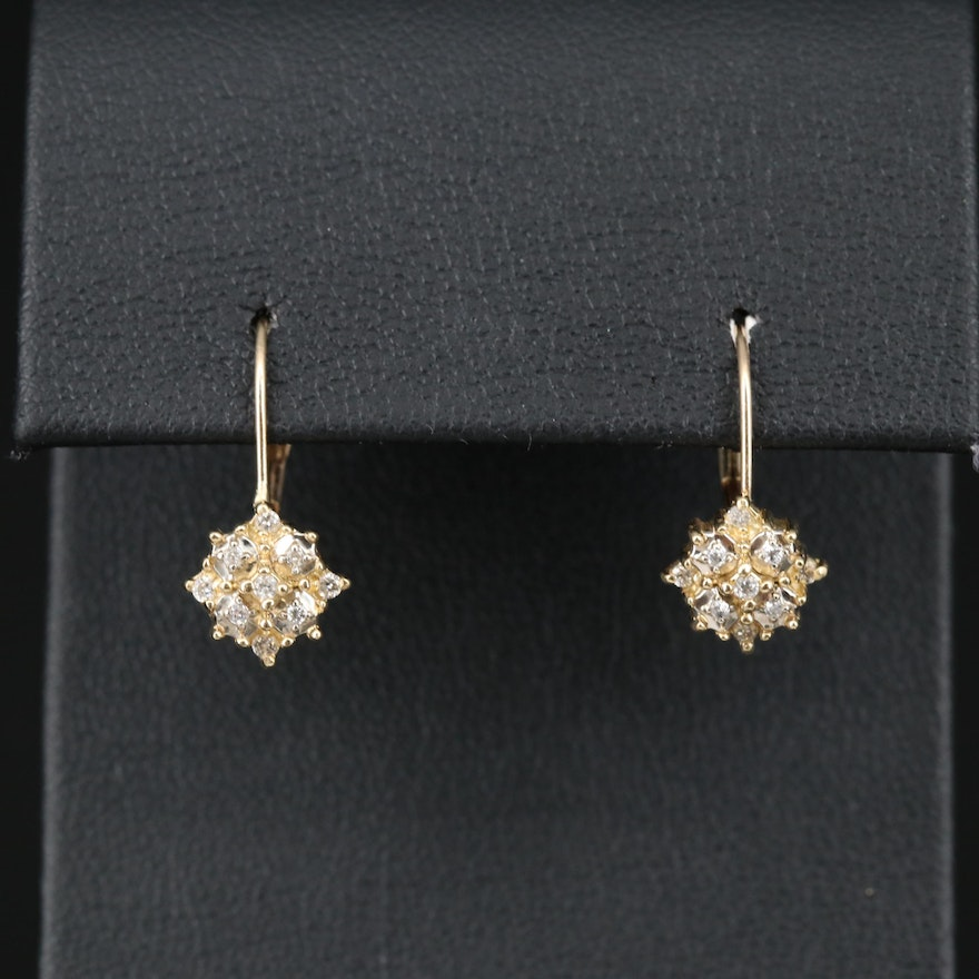 14K Diamond Cluster Dangle Earrings