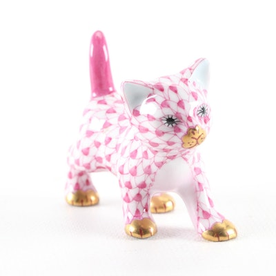 "Herend Pink Fishnet ""Strutting Kitty"" Porcelain Figurine"