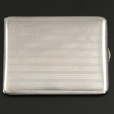 Watrous Mfg. Co. Engine Turned Sterling Silver Cigarette Case, Early 20th C.