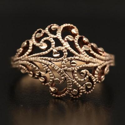 10K Scrollwork Diamond Cut Ring