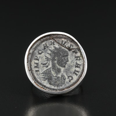 950 Silver Ring with Ancient Roman Imperial AE Antoninianus Coin of Probus