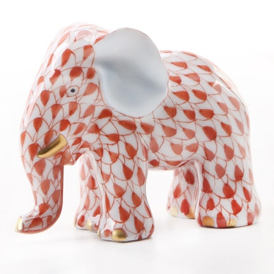 "Herend Butterscotch Fishnet ""Elephant on Ball"" Porcelain Figurine, October 1999"