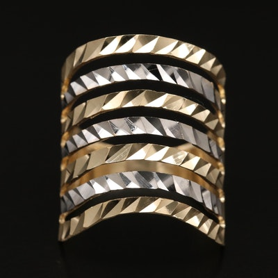 14K Two-Tone Diamond Cut Ring Featuring Split Shank Design