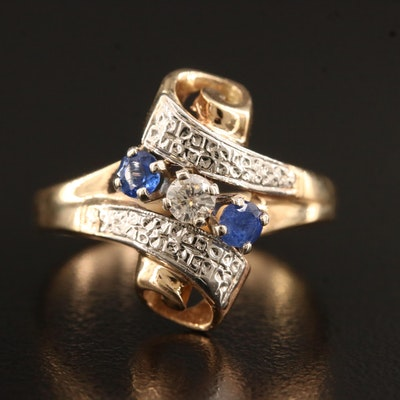 Vintage 14K Sapphire and Diamond Scroll Design Ring with Palladium Accents