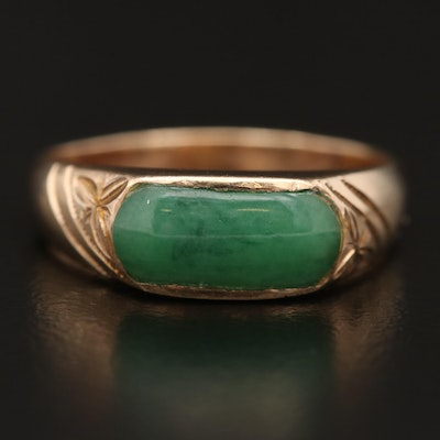 10K Jadeite Saddle Ring