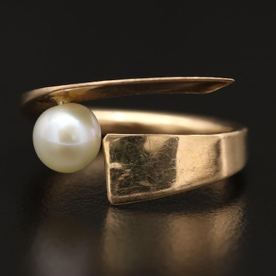 Betty Cooke Modernist 14K Pearl Bypass Ring