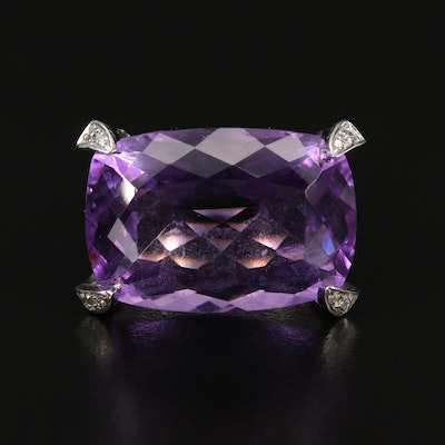 18K 28.57 CTW Amethyst and Diamond Ring