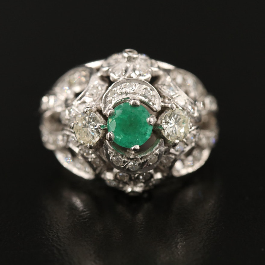 10K Emerald and 1.50 CTW Diamond Domed Ring