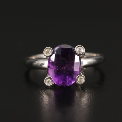 14K Amethyst Ring With Diamond Set Prongs