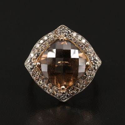 14K Smoky Quartz and Diamond Ring