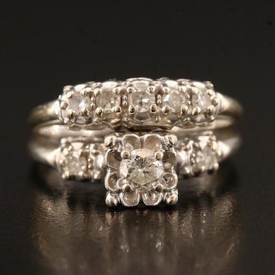 Vintage 14K Diamond Wedding Set