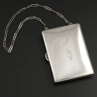 Nussbaum & Hunold Sterling Silver Card Case Wristlet, Early 20th Century