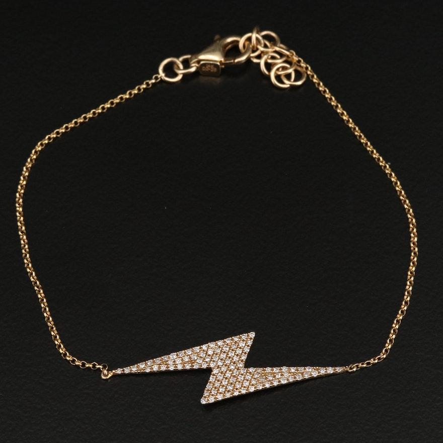 14K Diamond Lighting Bolt Bracelet