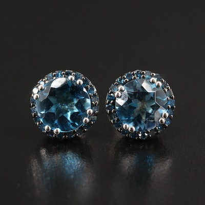 Sterling Silver Topaz and Diamond Filigree Stud Earrings