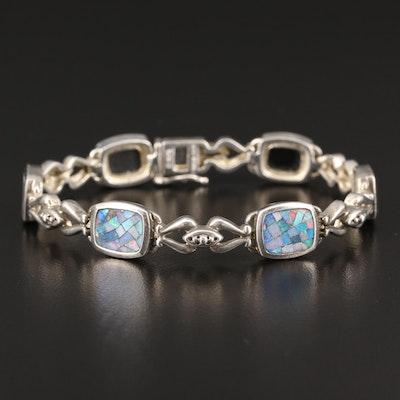 Sterling Silver Opal Mosaic Panel Bracelet