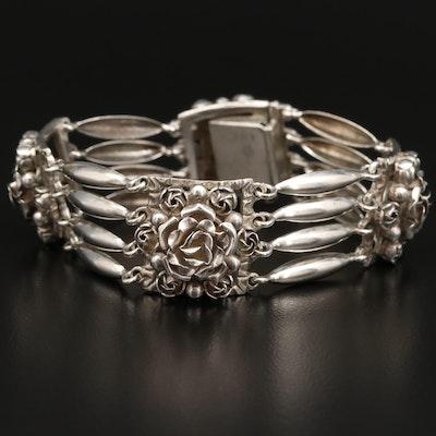 900 Silver Flower Motif Bracelet