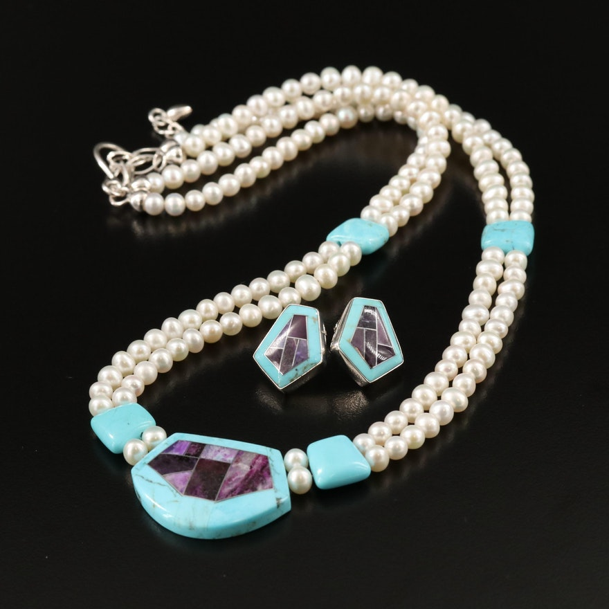 Desert Rose Trading Pearl and Turquoise Necklace with Matching Earrings