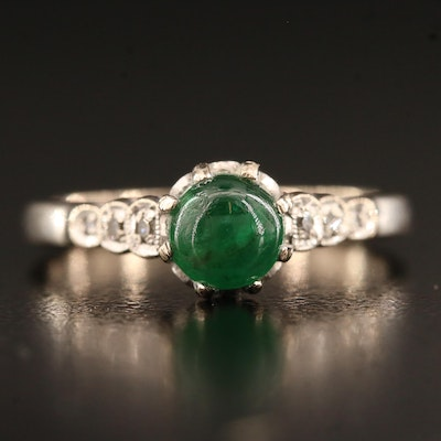 Vintage 18K Emerald and Diamond Ring