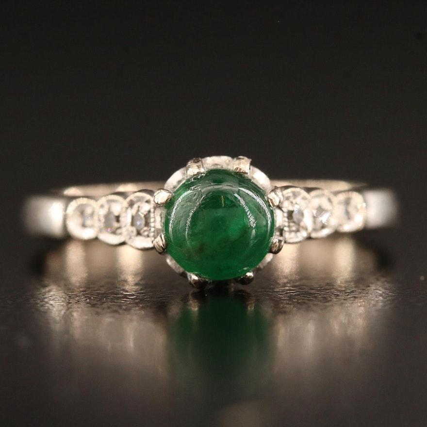 Vintage 18K Emerald and Diamond Ring