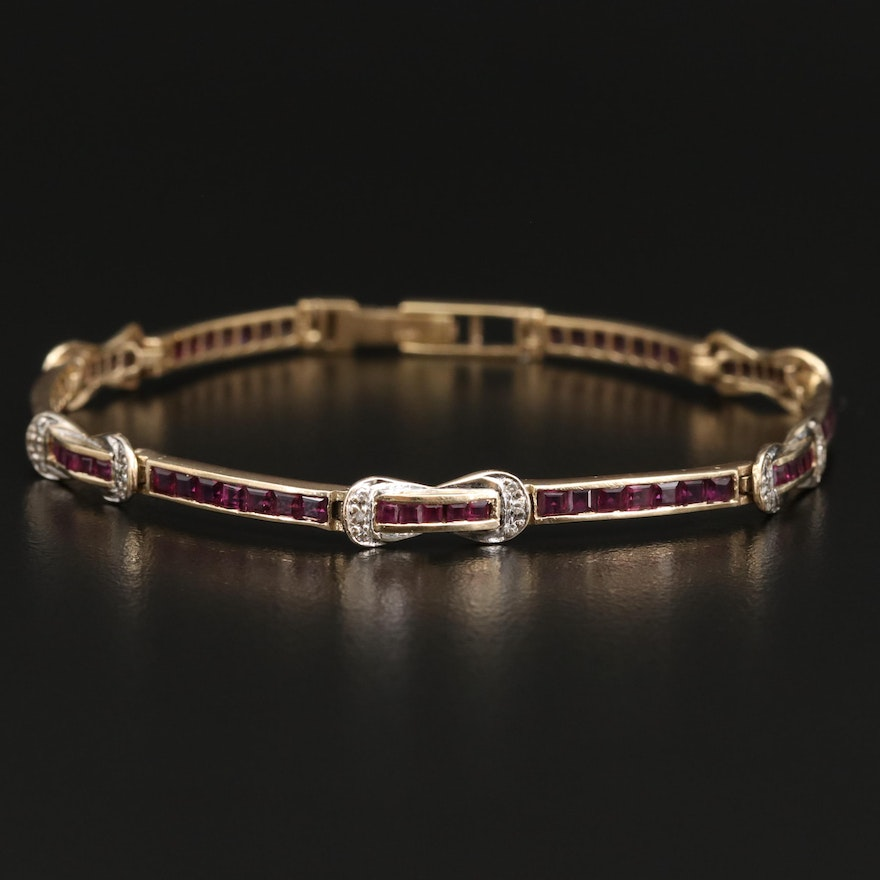14K Ruby and Diamond Channel and Loop Bracelet