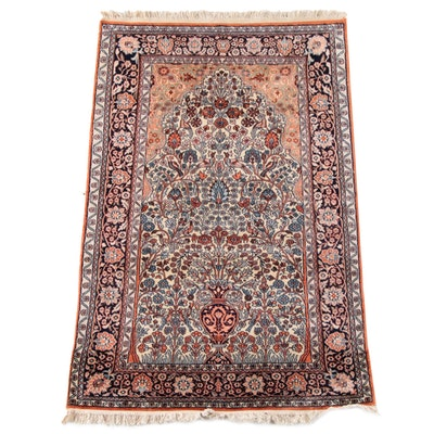 3'2 x 5'1 Hand-Knotted Persian Sarouk Prayer Wool Rug