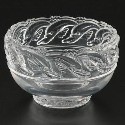 Tiffany & Co. Crystal Dolphin Bowl, Late 20th Century