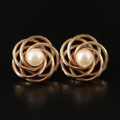 14K Pearl Spiral Button Earrings