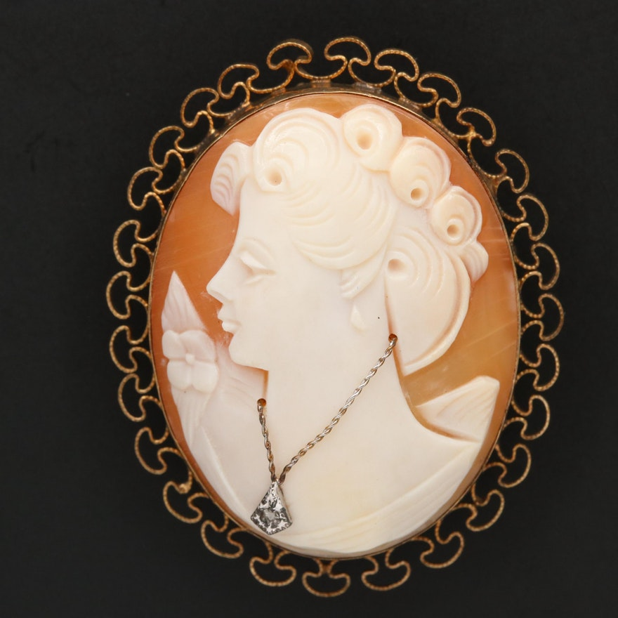1930s Gold Filled Diamond and Shell Habillé Cameo Converter Brooch