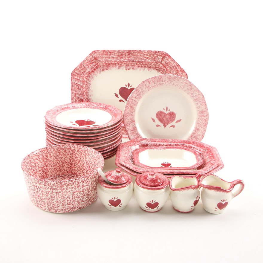 Signed Pink Ceramic Heart Motif Dinner and Serveware, 1980s
