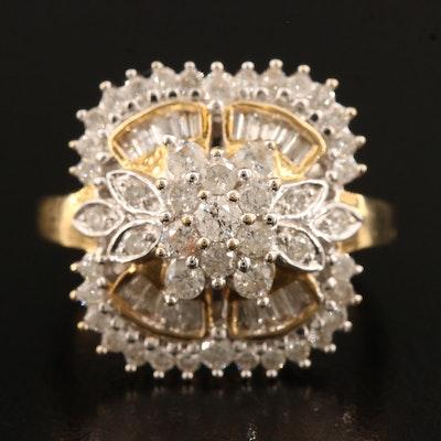 14K 1.36 CTW Diamond Quatrefoil Ring