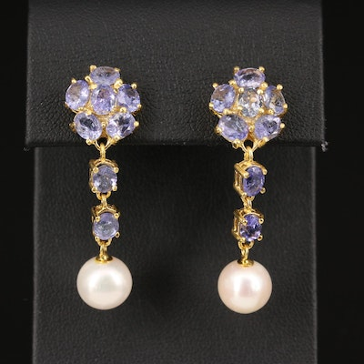 Sterling Silver Tanzanite and Pearl Floral Dangle Earrings