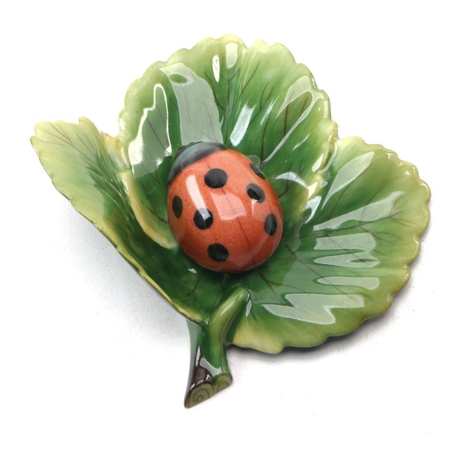 """Herend Natural """"Ladybug on a Leaf"""" Porcelain Figurine"""