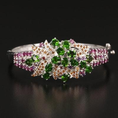 Sterling Diopside, Rhodolite Garnet and Sapphire Floral Motif Hinged Bracelet