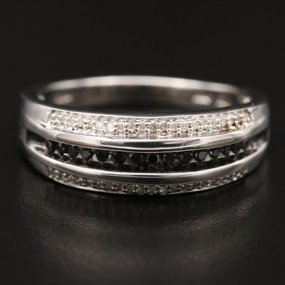 Sterling Silver Diamond Multi-Row Ring