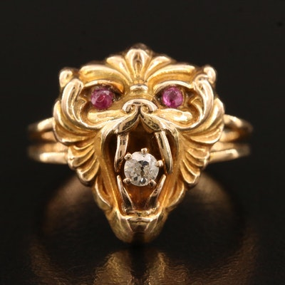 Victorian 14K Ruby and Diamond Lion Head Ring
