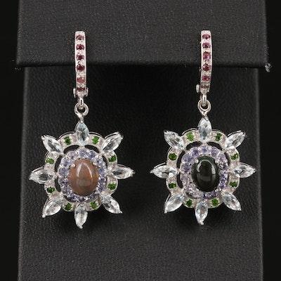 Sterling Silver Opal, Tanzanite and Aquamarine Dangle Earrings