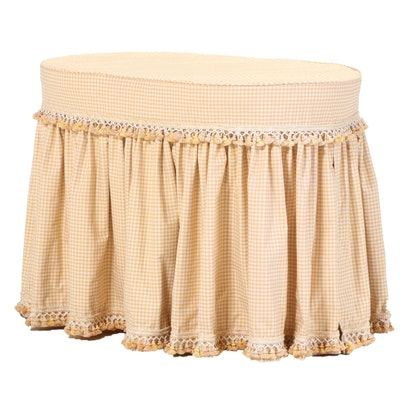 White-Painted Dressing Table with Gingham Cover