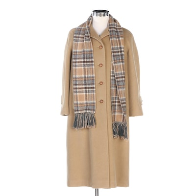 Rosewin Wool Coat with Plaid Lining and Fringed Scarf