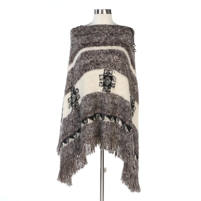 Southwestern Style Fringed Poncho in Gray, Black and Off-White Knit