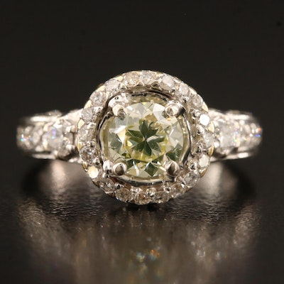18K 1.52 CTW Diamond Halo Ring