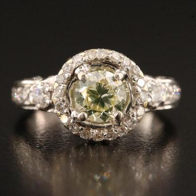 18K 1.52 CTW Diamond Halo Ring