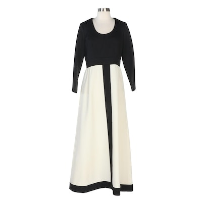 Alison Ayres Black and Off-White Color Block Maxi Dress, Late 1960s Vintage