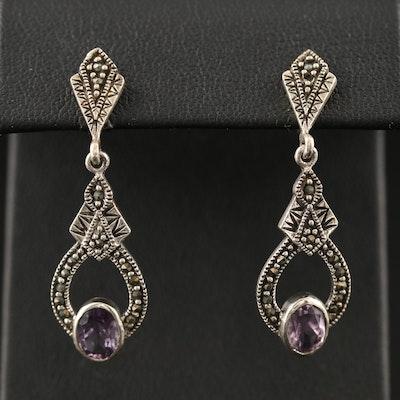 Sterling Amethyst and Marcasite Drop Earrings